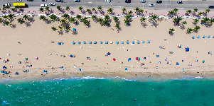 Aerial shot of colourful sun loungers on a beach in Miami