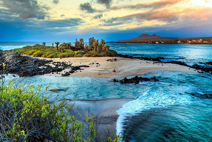 A Galapagos island at sunset