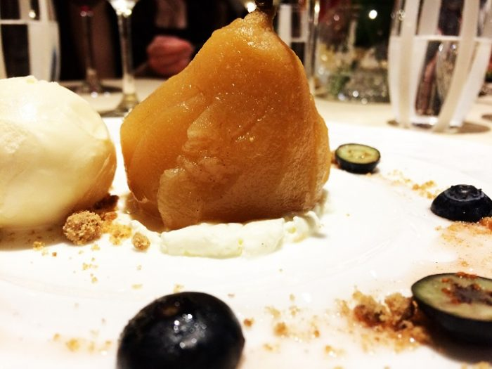Dessert of poached pear and cinnamon on Silver Muse