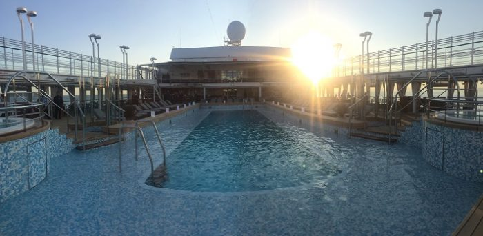 Pool area on-board Silver Muse at sunset