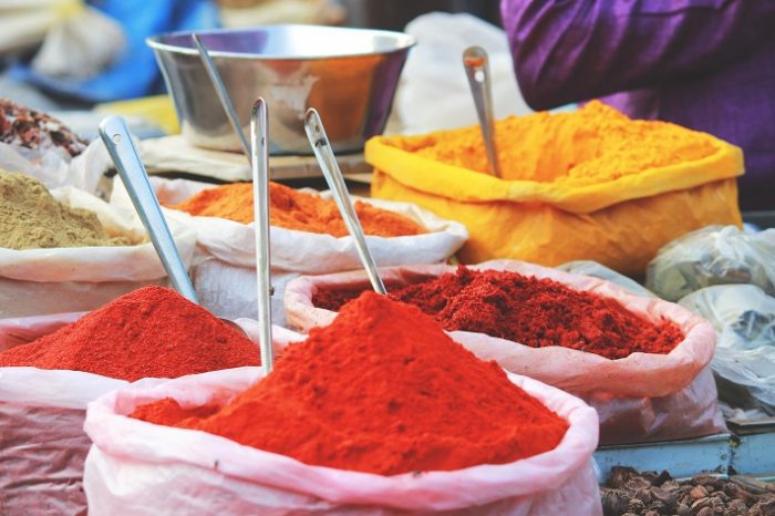Spices in sacks at an Indian market