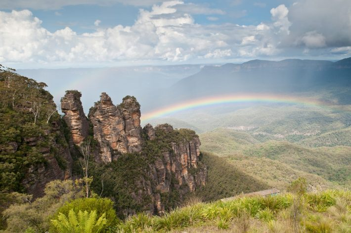 A rainbow across the Blue Mountains in Australia