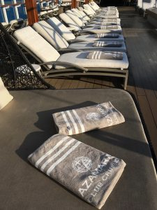 Luxurious Azamara branded towels on Quest cruise