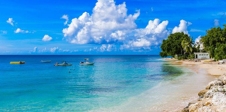 A sun-soaked beach in Bridgetown, the Barbados cruise port