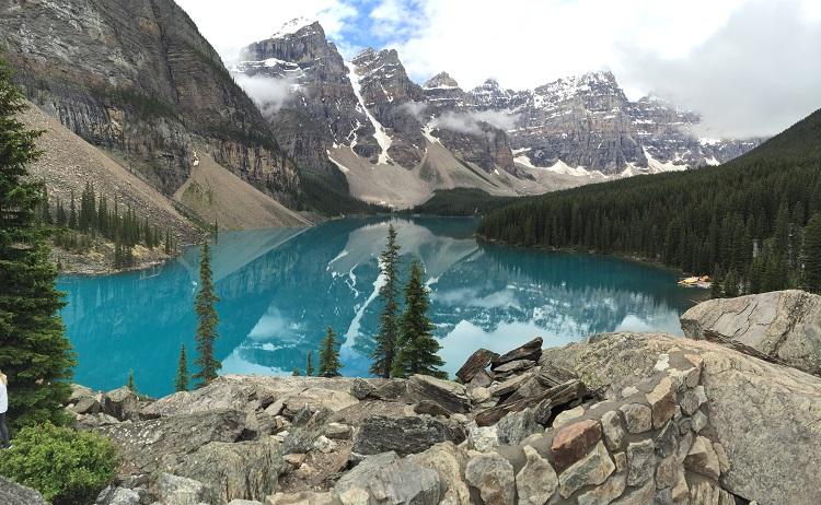 Piercing blue mountain lake in a Canada cruise destination