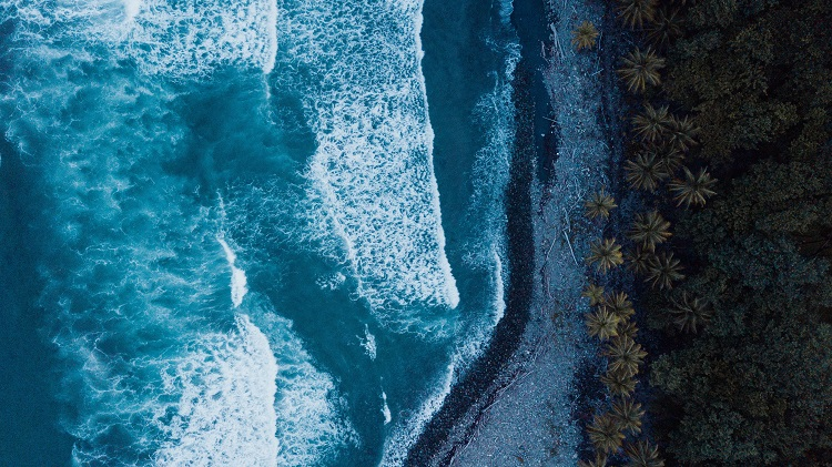 Aerial shot of waves washing onto the rugged coast of Dominica