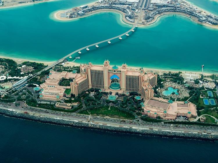 Aerial shot of Dubai's many man-made islands
