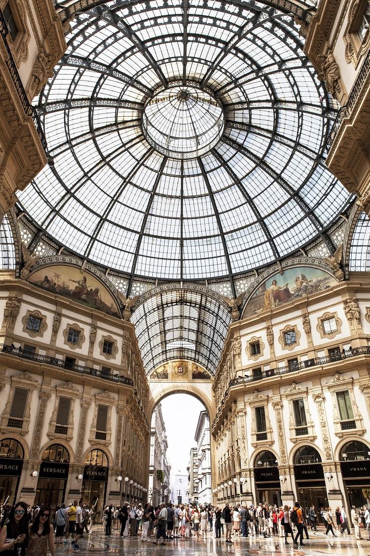 Ornate interior of the Galleria Vittorio Emanuele II in Rome