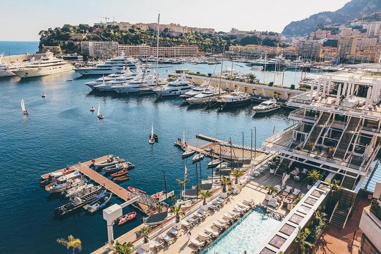 Luxury cruise harbour in Monaco bathed in sunshine