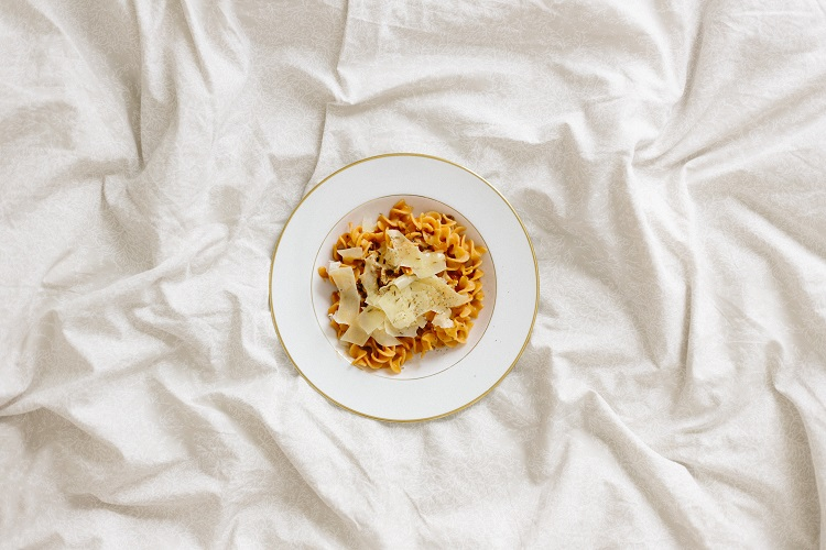 Authentic pasta dish in popular cruise port, Rome