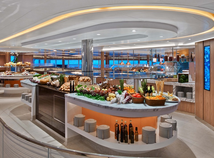 Interior of the stunning The Colonnade restaurant on-board Seabourn Encore