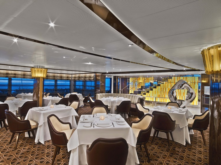 Interior of Seabourn Encore's restaurant, The Grill by Thomas Keller