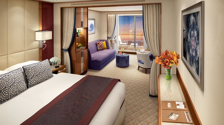 Luxurious veranda suite on-board Seabourn Encore