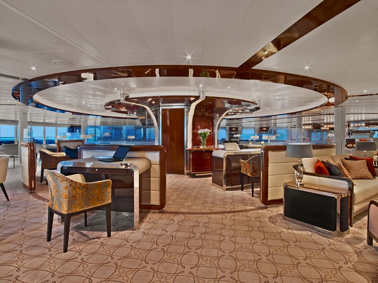 The sophisticated lounge on-board Seabourn Ovation