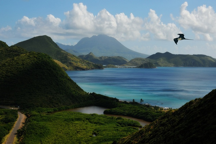 The hazy, mountainous landscape of St Kitts