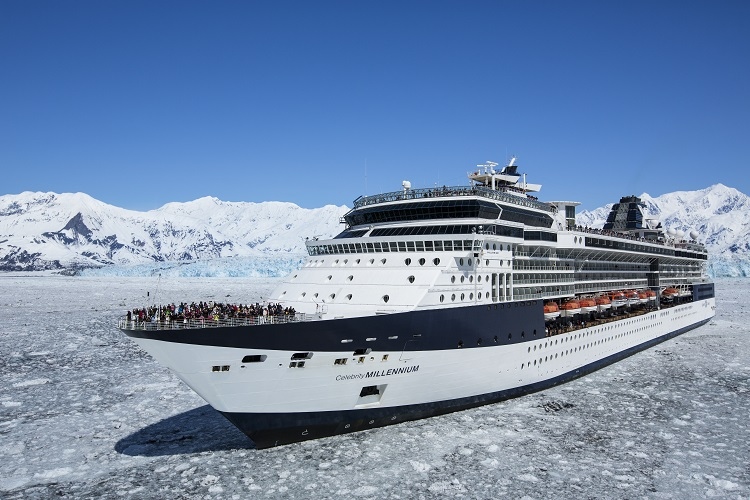 The Celebrity Millennium cruise ship sailing past the Hubbard Glacier in Alaska