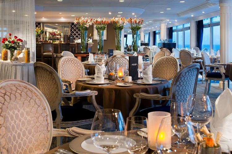 Table settings in the Aqualine speciality dining restaurant on-board Azamara Journey