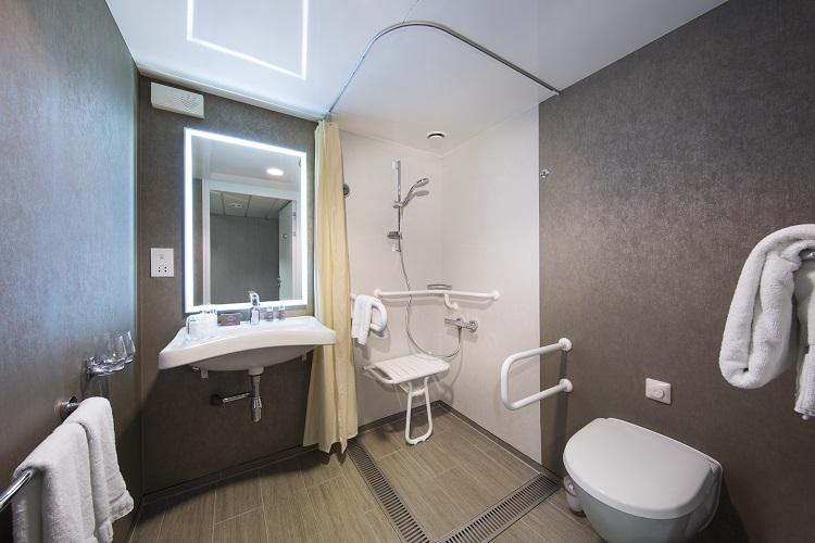 The bathroom in an oceanview stateroom on-board Azamara Journey