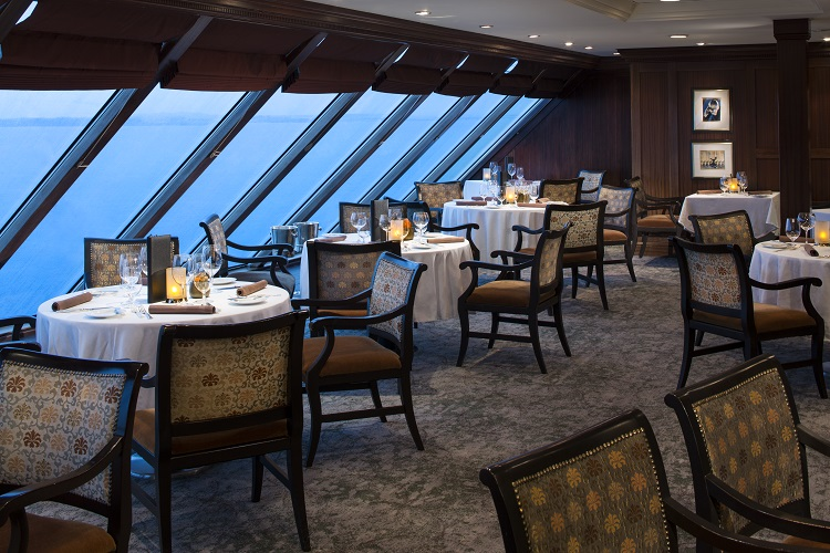 Interior of the sea-view Prime C restaurant on-board Azamara Journey
