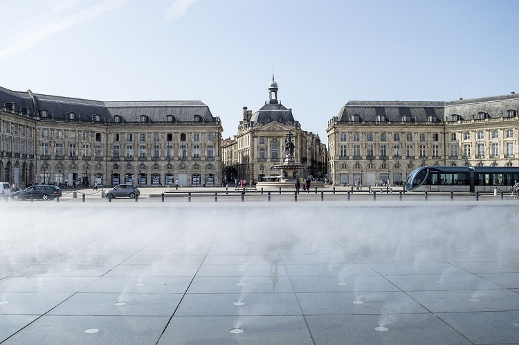 The Miroir d'Eau in front of Place de la Bourse in luxury cruise port, Bordeaux