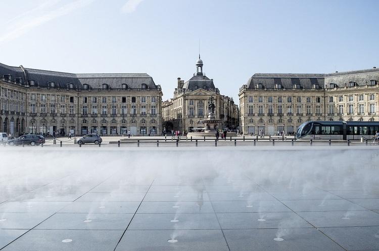 The Miroir d'Eau in front of Place de la Bourse in luxury cruise port, Bordeaux