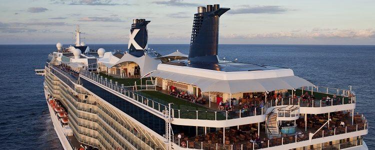 The Celebrity Eclipse cruise ship sailing through the sea around Miami
