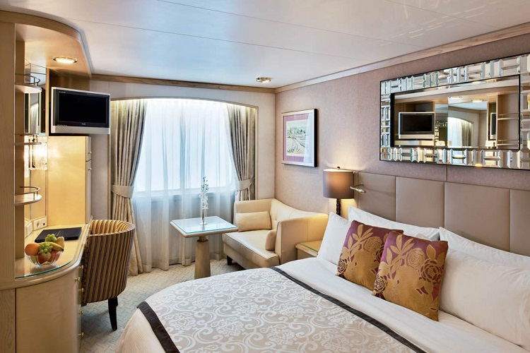 Interior of an elegant stateroom on-board Crystal Symphony