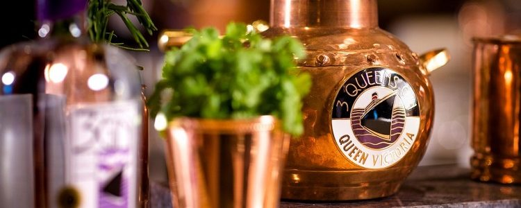 Copper decanter of Cunard Cruises' Queen Victoria gin