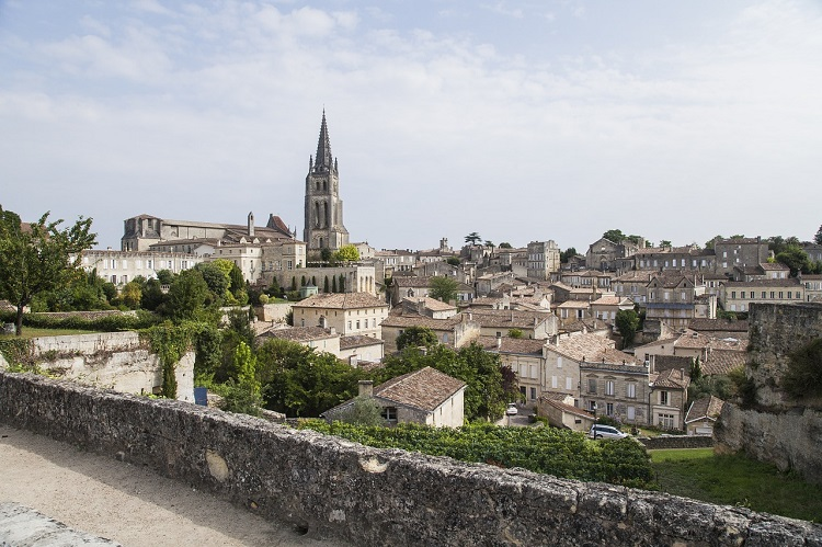 Cathedrals and historic buildings in Saint Emilion in Bordeaux luxury cruise port