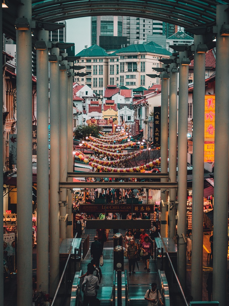 Shoppers strolling through Singapore's Chinatown district