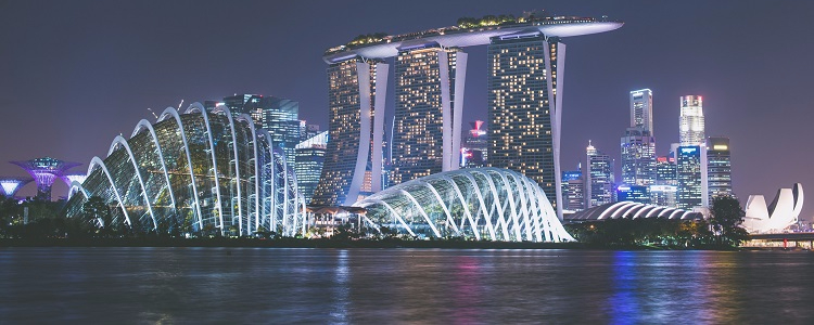 Futuristic Marina Bay Sands illuminated at night
