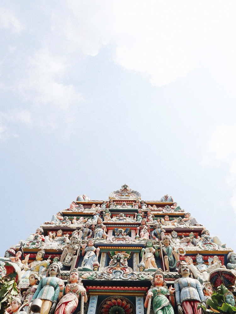 Ornate carvings on the exterior of Sri Veeramakaliamman in Singapore