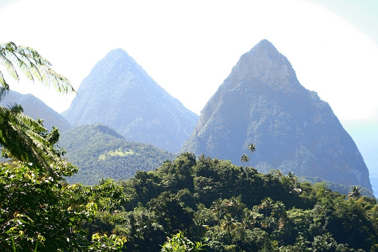 St Lucia's Pitons: lush mountains coated in dense vegetation