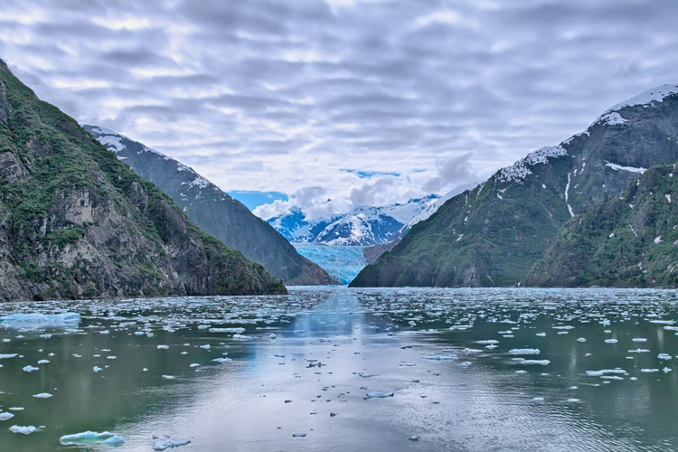 View down the length of Tracy Arm fjord towards Sawyer Glacier