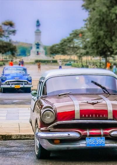 Classic cars parked near the beach in Havana, Cuba