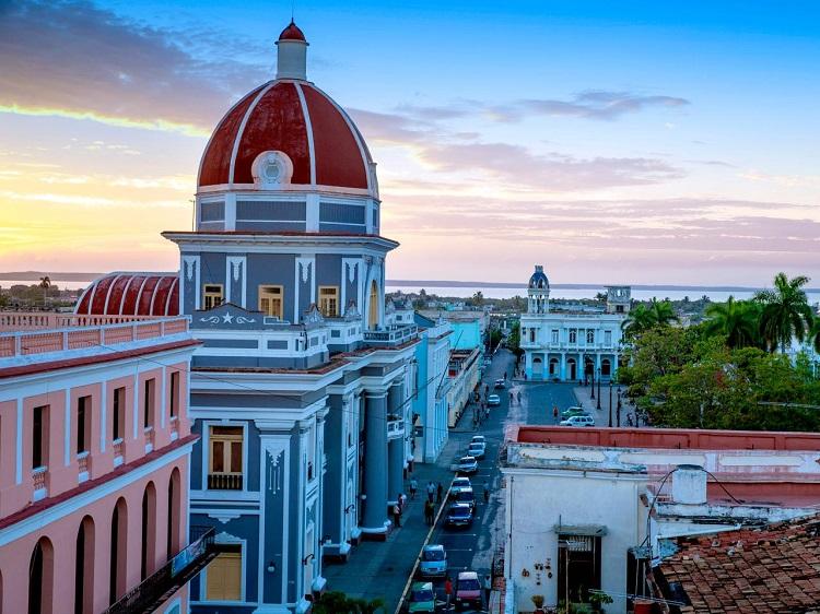 The sun setting over Cuba's multicoloured colonial architecture
