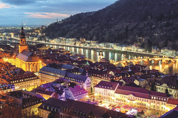 Heidelberg illuminated at night during winter