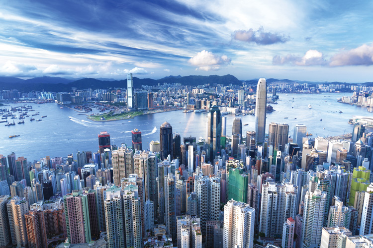 Stunning panorama of Hong Kong's skyline of skyscrapers and mountains