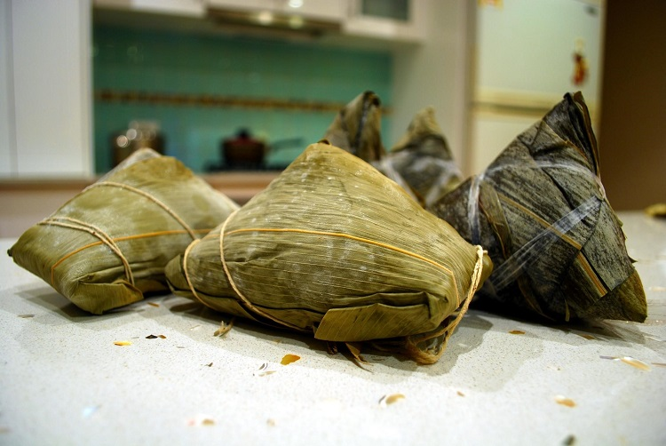 Traditional Chinese zongzi parcels bound with twine
