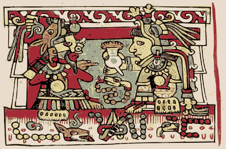 Ancient Aztec mural depicting cocoa drinking