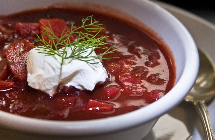 A bowl of borscht - a soup made with beetroot in Ukraine