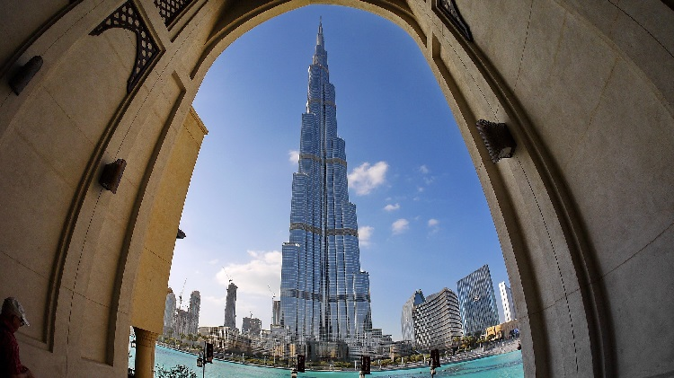 Stunning wide angle shot of the Burj Khalifa in Dubai seen through a doorway