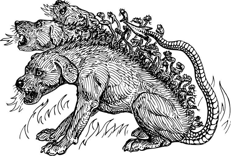 Illustration of the Greek hell-hound, Cerberus