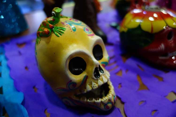 A sugar skull on an altar in Mexico during the Day of the Dead