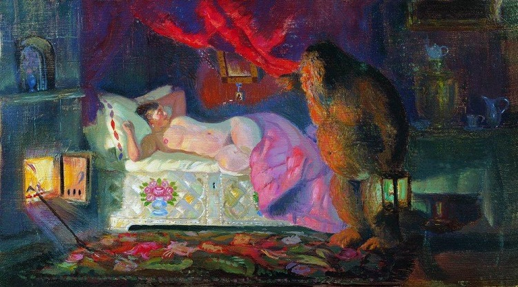 Painting of the Russian domovoi monster looming over the bed of a villager