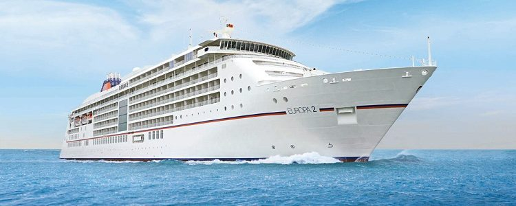 The exterior of Hapag-Lloyd's Europa 2 as it sails through the ocean