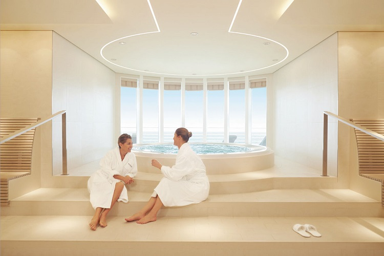 Two women chatting and relaxing in the spa on-board Hapag-Lloyd's Europa 2 cruise ship