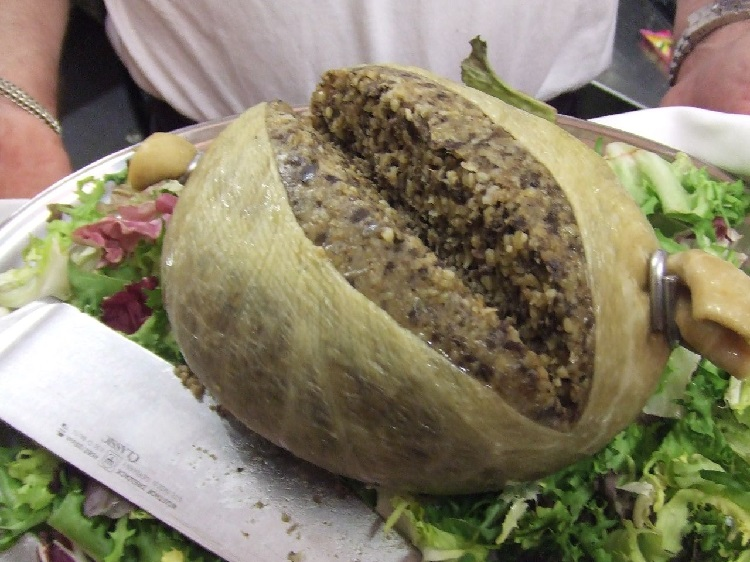 Man holding a plate of haggis and salad