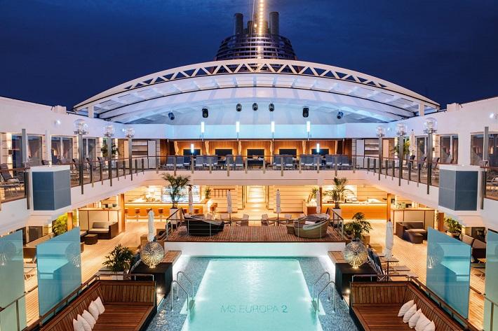 The pool deck on-board Hapag-Lloyd Europa 2 illuminated at night