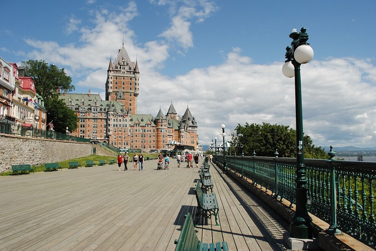 The Chateau Frontenac Hotel rising up over the promenade in Quebec
